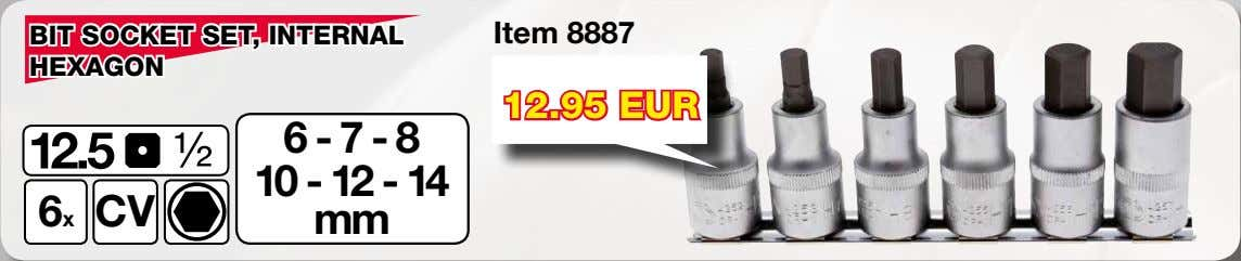 BIT SOCKET SET, INTERNAL Item 8887 HEXAGON 12.95 EUR 6-7-8 10 - 12 - 14