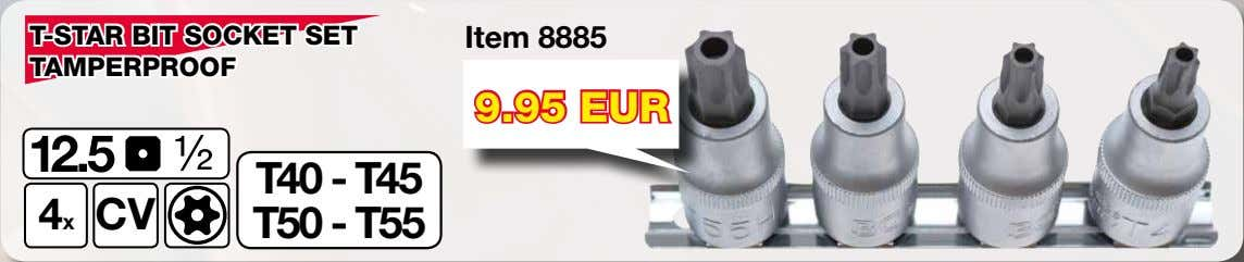 T-STAR BIT SOCKET SET Item 8885 TAMPERPROOF 9.95 EUR 4x CV T40 - T45 T50