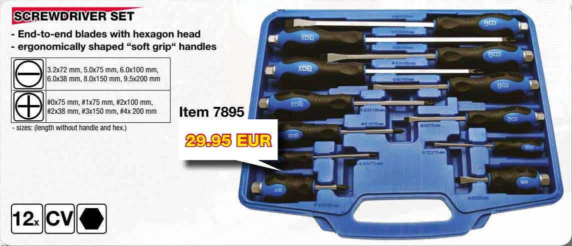 "SCREWDRIVER SET - End-to-end blades with hexagon head - ergonomically shaped ""soft grip"" handles 3.2x72"