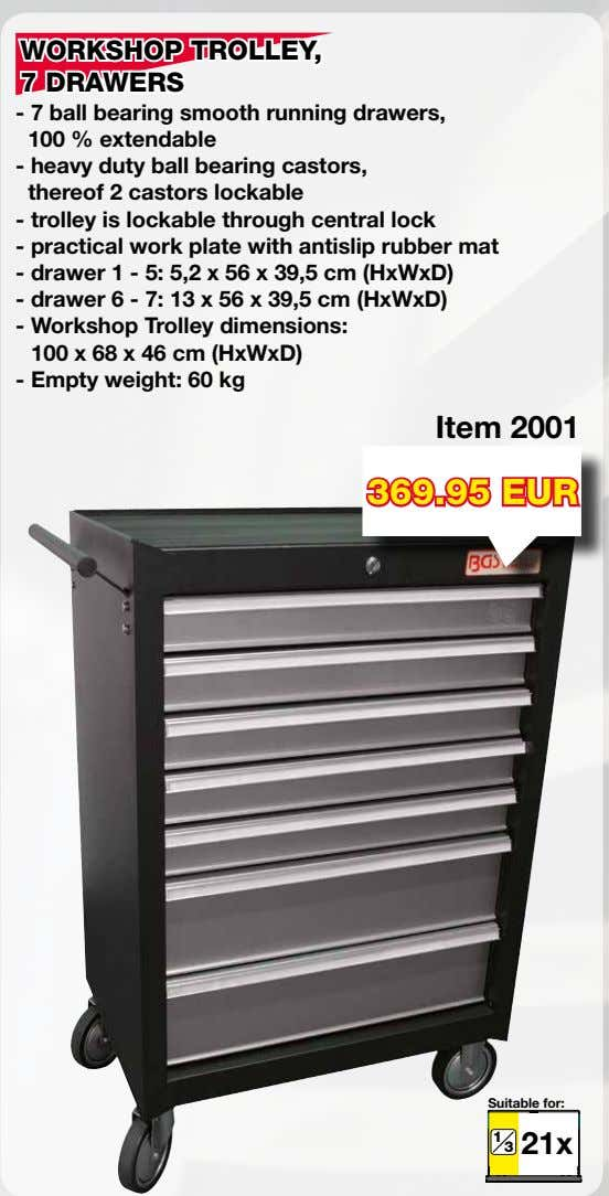 WORKSHOP TROLLEY, 7 DRAWERS - 7 ball bearing smooth running drawers, 100 % extendable -