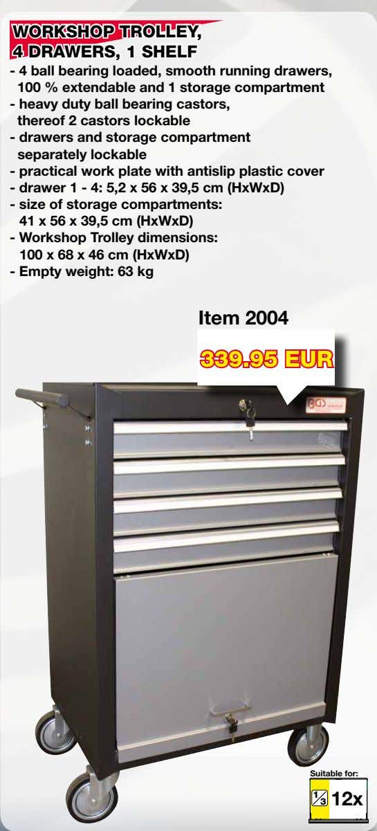 WORKSHOP TROLLEY, 4 DRAWERS, 1 SHELF - 4 ball bearing loaded, smooth running drawers, 100