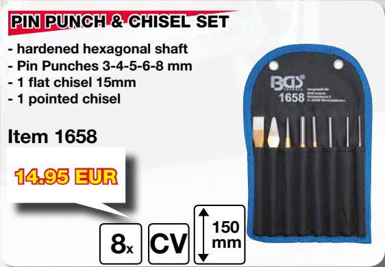 PIN PUNCH & CHISEL SET - hardened hexagonal shaft - Pin Punches 3-4-5-6-8 mm -