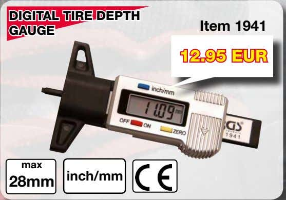 DIGITAL TIRE DEPTH Item 1941 GAUGE 12.95 EUR max inch/mm 28mm