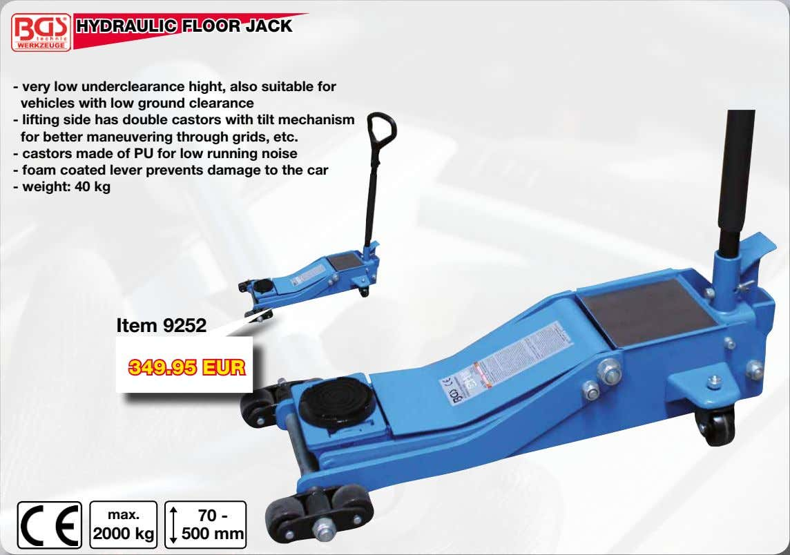 HYDRAULIC FLOOR JACK - very low underclearance hight, also suitable for vehicles with low ground