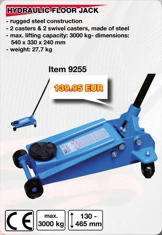 HYDRAULIC FLOOR JACK - rugged steel construction - 2 casters & 2 swivel casters, made