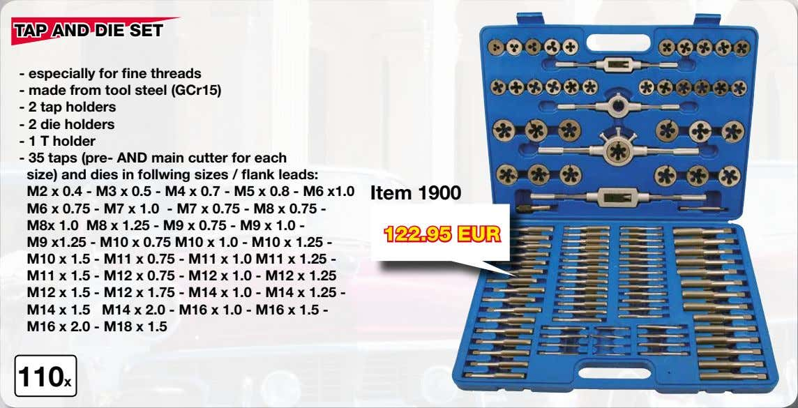 TAP AND DIE SET - especially for fine threads - made from tool steel (GCr15)