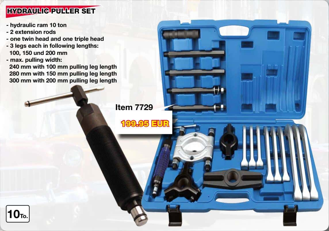 HYDRAULIC PULLER SET - hydraulic ram 10 ton - 2 extension rods - one twin