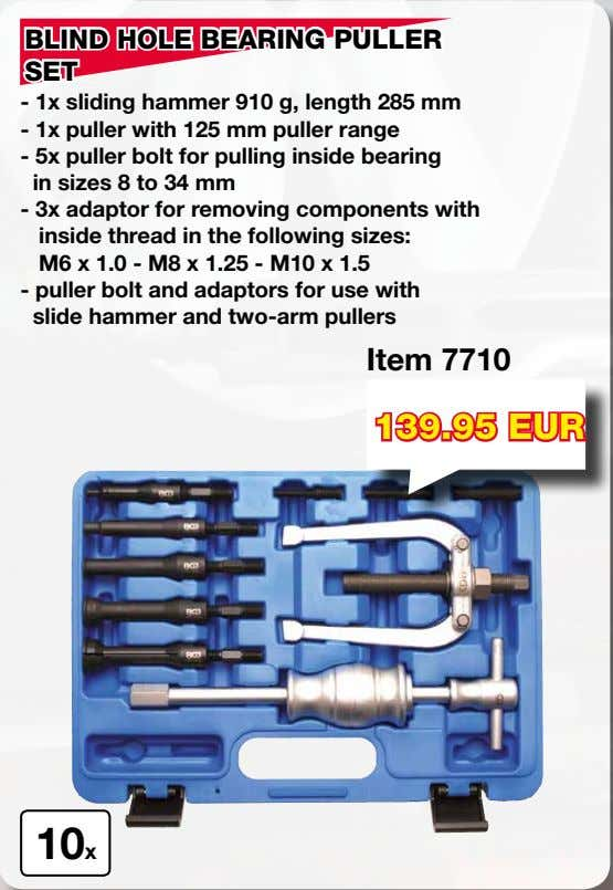 BLIND HOLE BEARING PULLER SET - 1x sliding hammer 910 g, length 285 mm -