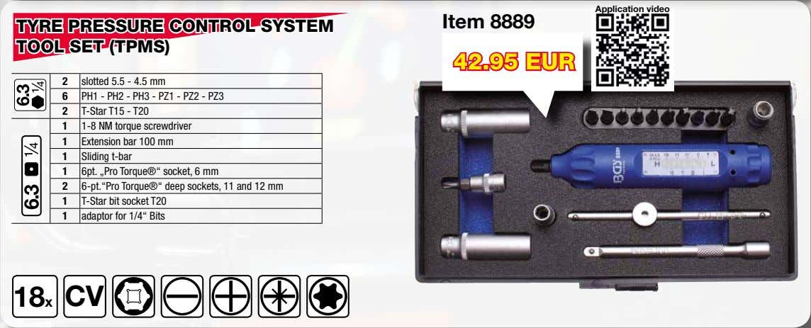 Application video Item 8889 TYRE PRESSURE CONTROL SYSTEM TOOL SET (TPMS) 42.95 EUR 2 slotted