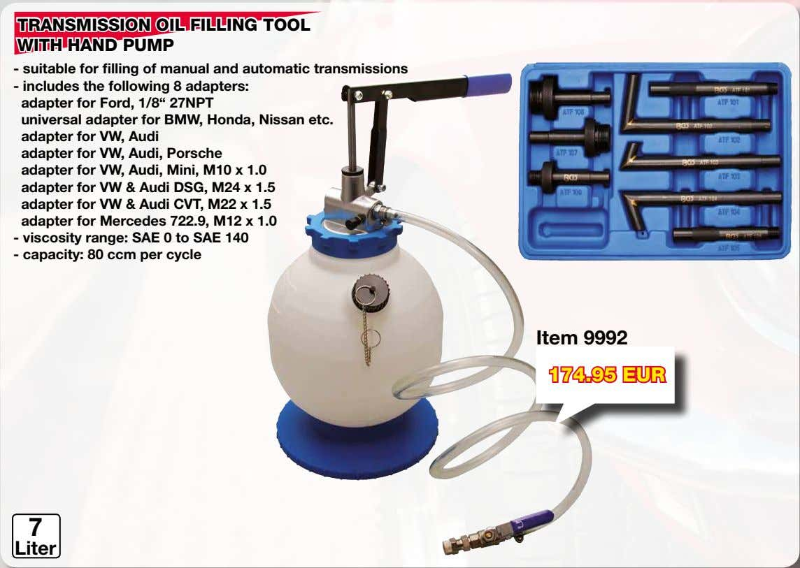 TRANSMISSION OIL FILLING TOOL WITH HAND PUMP - suitable for filling of manual and automatic