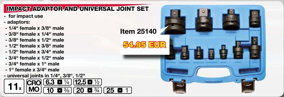 "IMPACT ADAPTOR AND UNIVERSAL JOINT SET - for impact use - adaptors: - 1/4"" female"