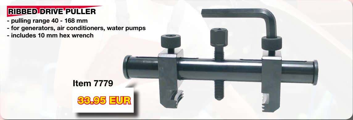 RIBBED DRIVE PULLER - pulling range 40 - 168 mm - for generators, air conditioners,