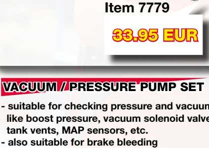 pumps - includes 10 mm hex wrench Item 7779 33.95 EUR VACUUM / PRESSURE PUMP SET