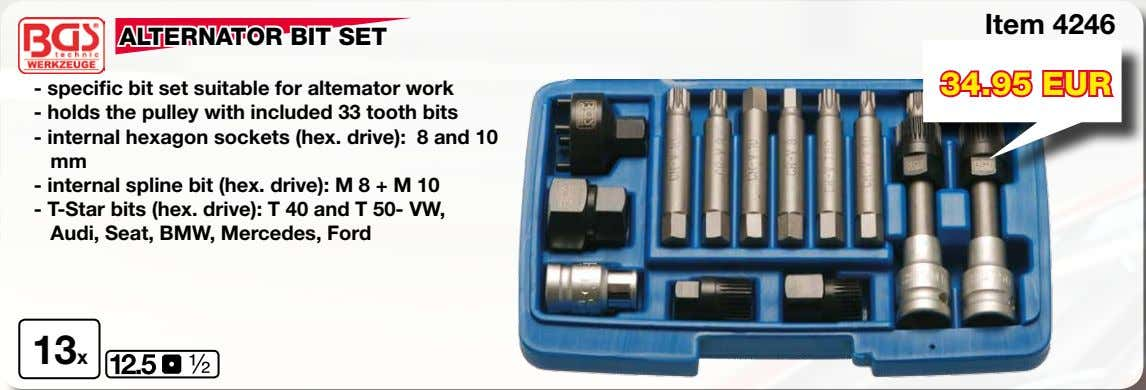 Item 4246 ALTERNATOR BIT SET 34.95 EUR - specific bit set suitable for altemator work