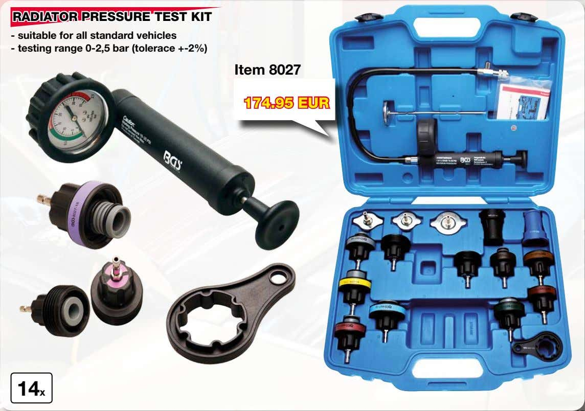 RADIATOR PRESSURE TEST KIT - suitable for all standard vehicles - testing range 0-2,5 bar