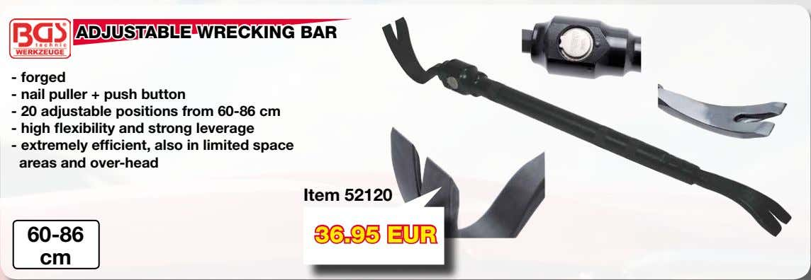 ADJUSTABLE WRECKING BAR - forged - nail puller + push button - 20 adjustable positions