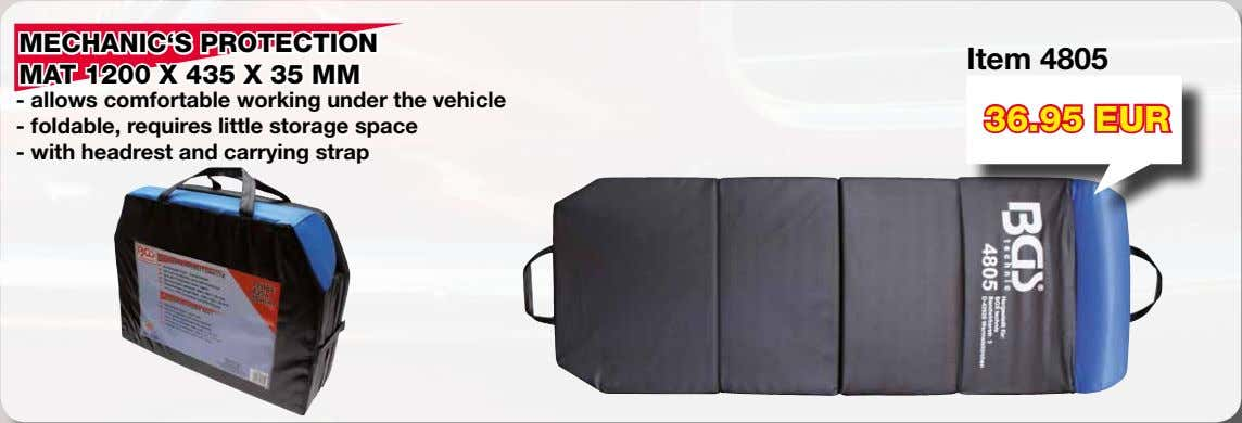 MECHANIC'S PROTECTION Item 4805 MAT 1200 X 435 X 35 MM - allows comfortable working