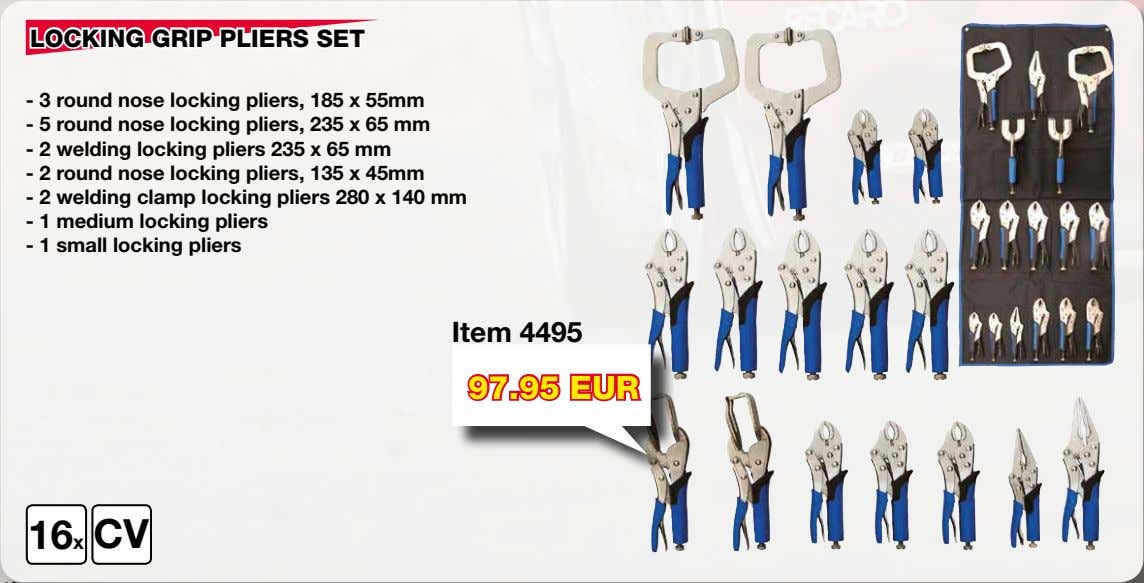 LOCKING GRIP PLIERS SET - 3 round nose locking pliers, 185 x 55mm - 5