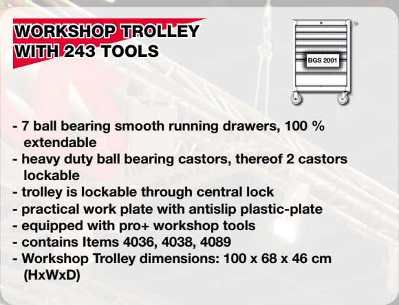 WORKSHOP TROLLEY WITH 243 TOOLS BGS 2001 - 7 ball bearing smooth running drawers, 100