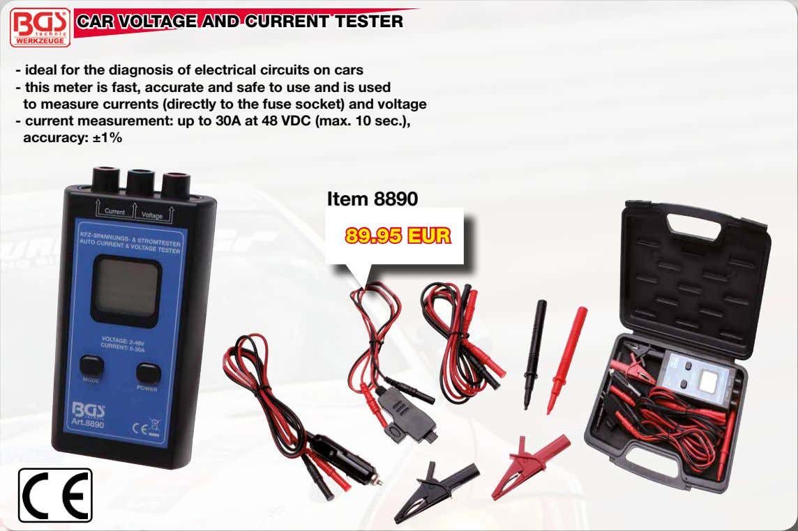 CAR VOLTAGE AND CURRENT TESTER - ideal for the diagnosis of electrical circuits on cars