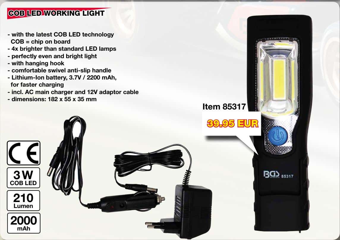 COB LED WORKING LIGHT - with the latest COB LED technology COB = chip on