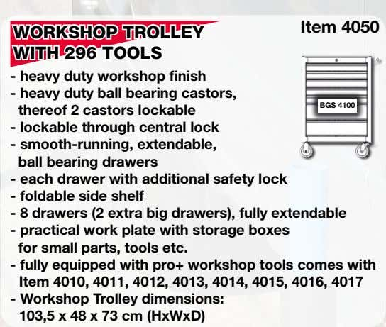 Item 4050 WORKSHOP TROLLEY WITH 296 TOOLS - heavy duty workshop finish - heavy duty