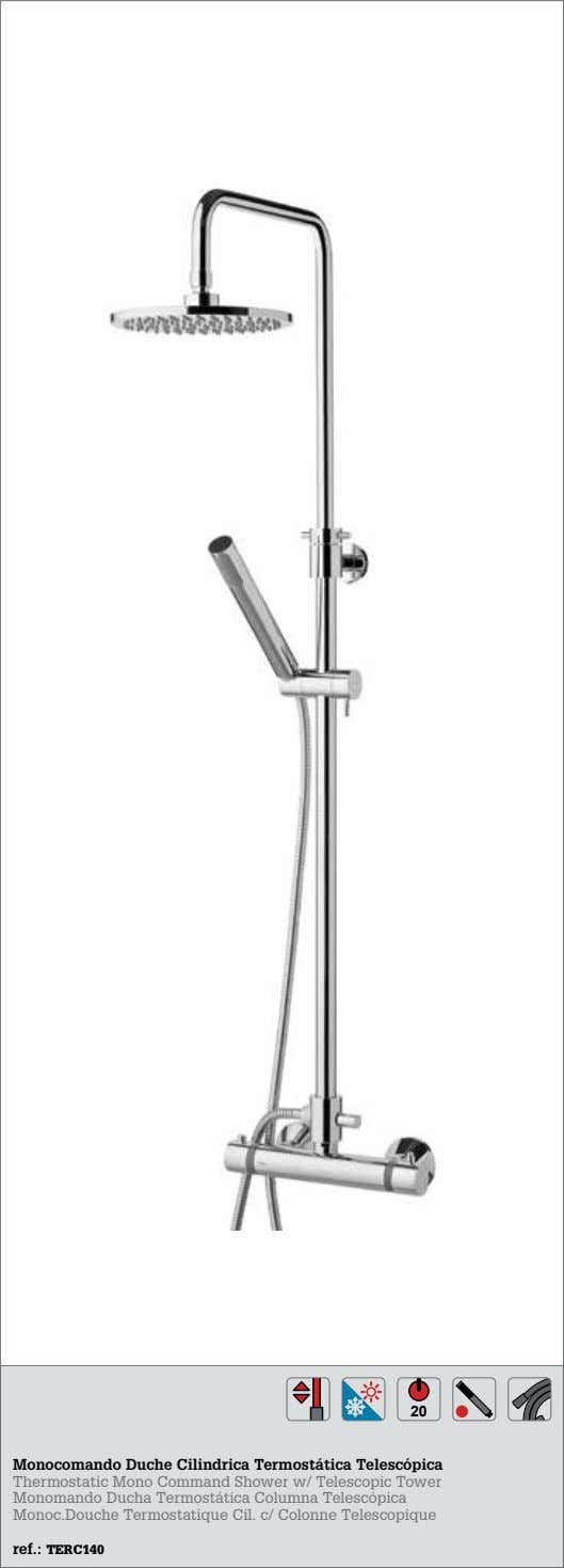 20 Monocomando Duche Cilindrica Termostática Telescópica Thermostatic Mono Command Shower w/ Telescopic Tower