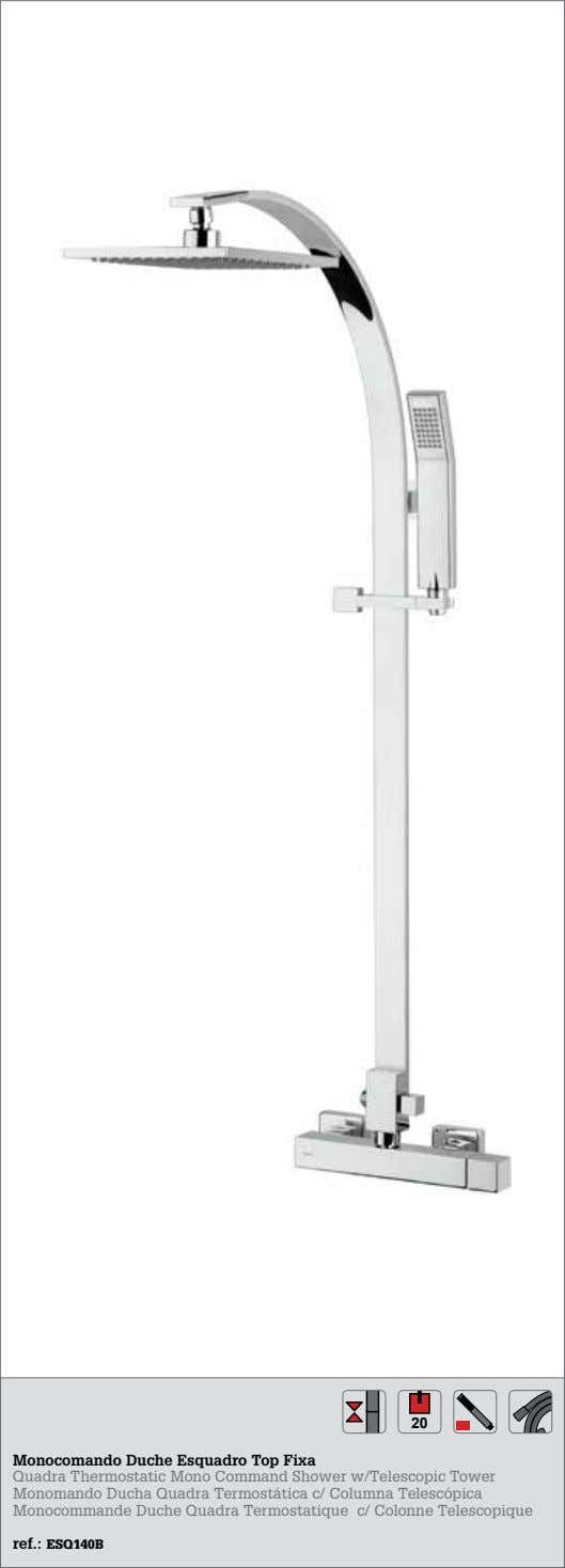 20 Xxxx Xxxx Monocomando Duche Esquadro Top Fixa Xxxx Xxxx Quadra Thermostatic Mono Command Shower