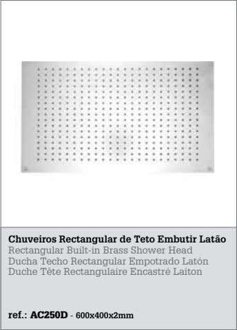 Chuveiros Rectangular de Teto Embutir Latão Rectangular Built-in Brass Shower Head Ducha Techo Rectangular Empotrado