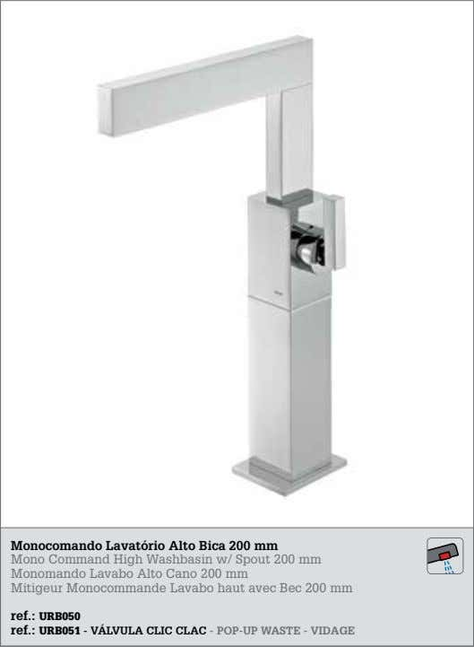 Monocomando Lavatório Alto Bica 200 mm Mono Command High Washbasin w/ Spout 200 mm Monomando