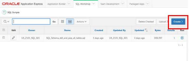 "you click the ""Create"" button from the SQL Scripts page. To create a new script: 1."