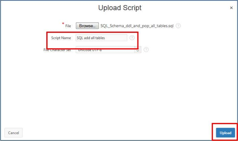 "Set"" as default (Unicode UTF-8), and click ""Upload"". 8. You will now see the Script listed."