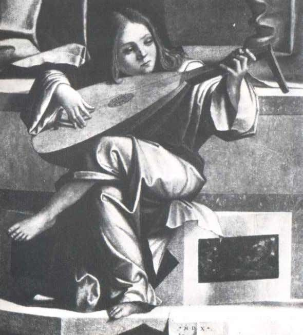 V. Carpaccio. Angel playing the Lute Courtesy of the Galleria dell Academy, Venice Oud (Lute)