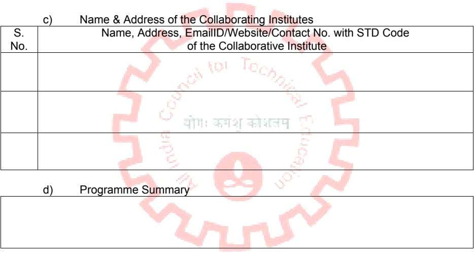 c) Name & Address of the Collaborating Institutes S. No. Name, Address, EmailID/Website/Contact No. with