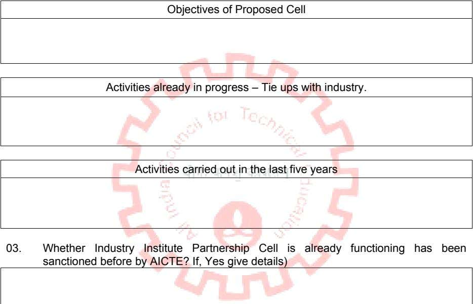 Objectives of Proposed Cell Activities already in progress – Tie ups with industry. Activities carried