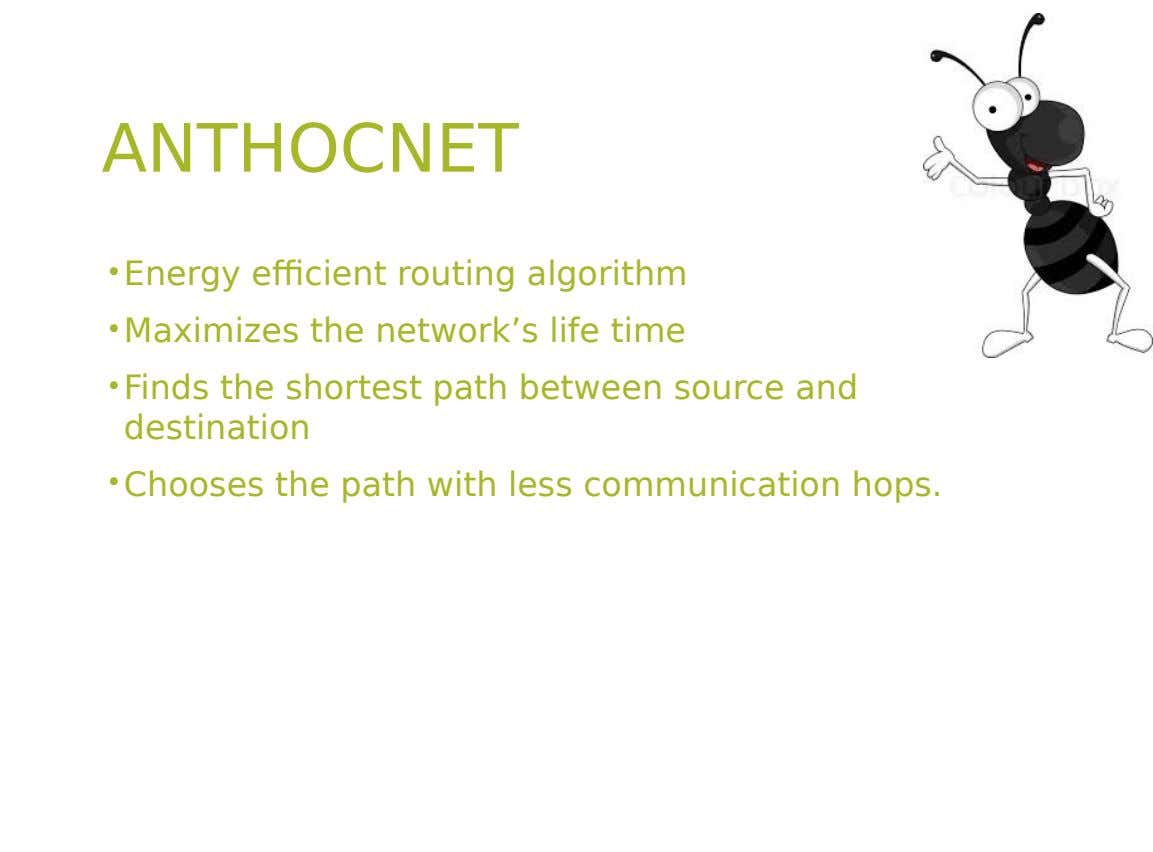 ANTHOCNET • Energy efficient routing algorithm • Maximizes the network's life time • Finds the shortest