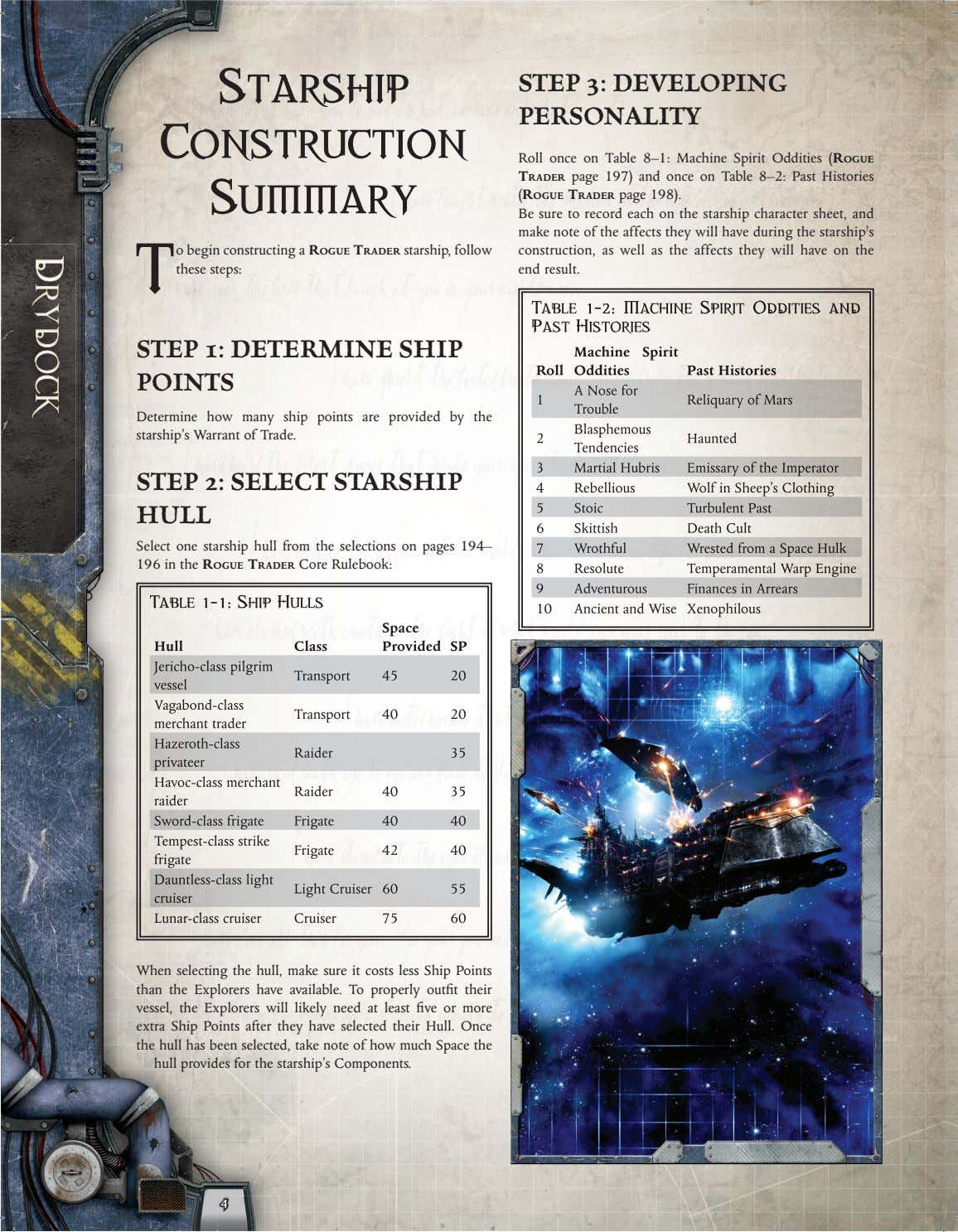 Starship STEP 3: DEVELOPING PERSONALITY Construction Summary T o begin constructing a ROGUE TRADER starship,