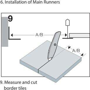 6. Installation of Main Runners 9 A/B A/B 9. Measure and cut border tiles