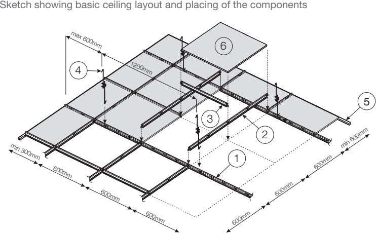 Sketch showing basic ceiling layout and placing of the components 1200mm max 600mm 6 4