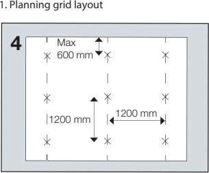 1. Planning grid layout 4 Max 600 mm 1200 mm 1200 mm