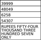 in `: 54307 Total Payable in `(in words): RUPEES FIFTY-FOUR THOUSAND THREE HUNDRED SEVEN ONLY