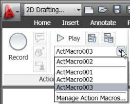 Figure 23. Action macro list Document AutoCAD is synonymous with documentation for good reason. Powerful