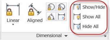 dimensional constraints you want to show or hide. Figure 33. Dimensional constraint visibility tools The