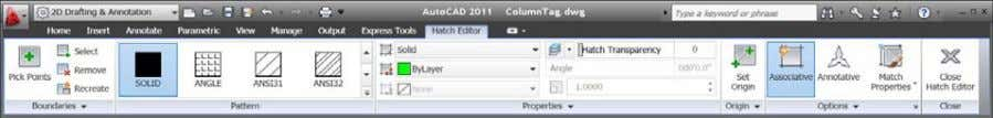 similar hatch tools when you select an existing hatch. Figure 42. Hatch Editing ribbon tab The