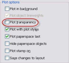 for plotting, slowing down the plotting process. Figure 40. Plot transparency Prior to AutoCAD 2011,