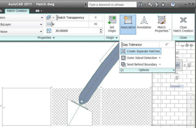 "you have the ""Create Separate Hatches"" option on. Figure 44. Create Separate Hatches option AutoCAD 2011"