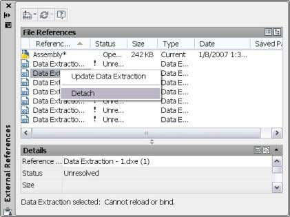 easily detach data extraction tables from a drawing. Figure 57. Data Extraction Table Detach option Scale