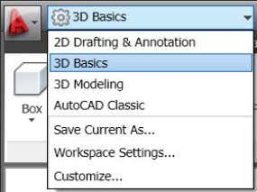 access to the complete array of 3D tools in AutoCAD. Figure 63. Workspaces list 3D Object