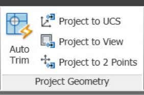 the Project Geometry panel of the Surface ribbon tab. Figure 75. Project Geometry tools You can