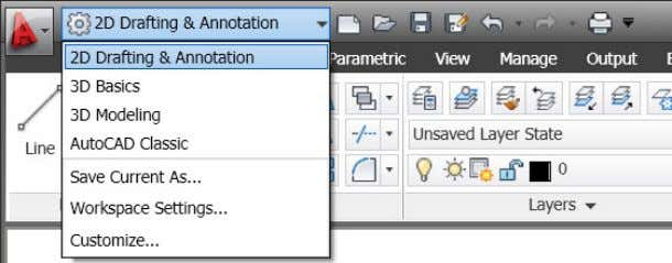 Figure 2. Workspace menu Navigation AutoCAD 2011 includes a new Navigation bar with frequently used